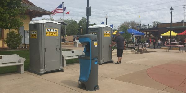 Portable Restroom with Handwash Stations